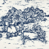 French Country Nautical Blue Toile Shower Curtain with Banded Bottom