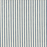 French Country Nautical Blue Ticking Stripe Shower Curtain with Ruffled Bottom