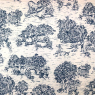 French Country Nautical Blue Toile Shower Curtain with Ruffled Bottom