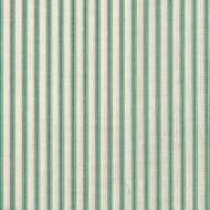 French Country Pool Green Ticking Stripe Shower Curtain with Ruffled Bottom
