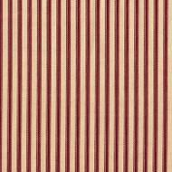 French Country Crimson Ticking Stripe Shower Curtain with Ruffled Bottom