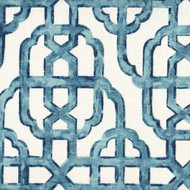 Imperial Seaside Blue Lattice Shower Curtain with Band