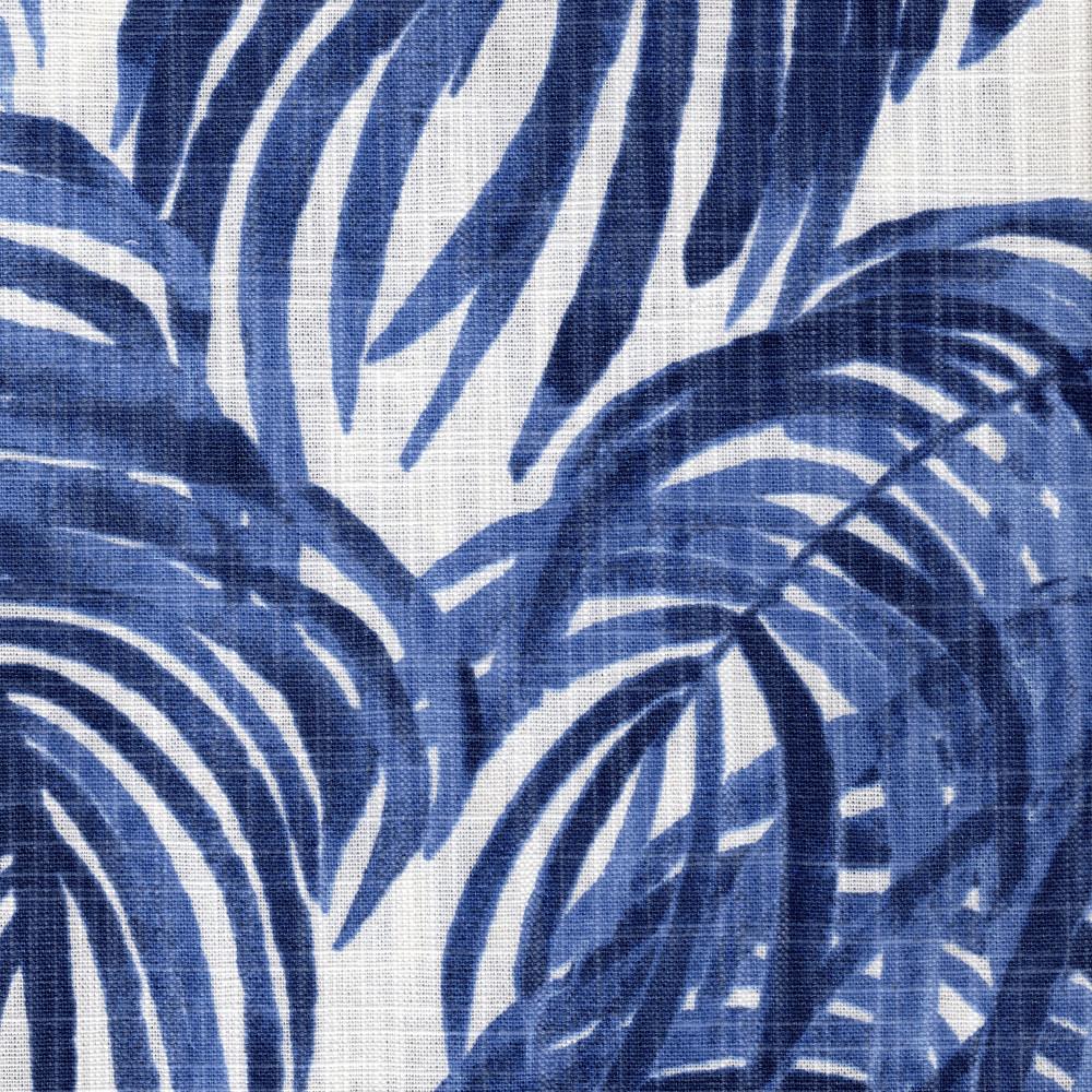 Villa Palm Wedgewood Blue Rod Pocket Curtain Panels