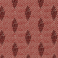 Boca Garnet Medallion Red Lattice Pinch-Pleated Curtain Panels