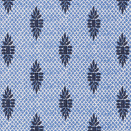Boca Wedgewood Medallion Blue Lattice Pinch-Pleated Curtain Panels