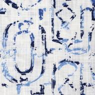 Miramar Wedgewood Geometric Blue Lattice Pinch-Pleated Curtain Panels