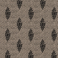Boca Granite Medallion Black Lattice Pinch-Pleated Curtain Panels
