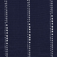 Carlo Vintage Indigo Stripe Pinch-Pleated Curtain Panels