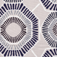 Charm Vintage Indigo Geometric Pinch-Pleated Curtain Panels