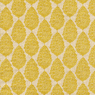Jersey Collins Yellow Medallion Pinch-Pleated Patio Door Curtain Panels
