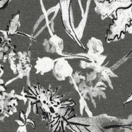 Garden Party Ink Floral Gray Gathered Bedskirt
