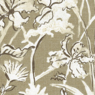Garden Party Sand Floral Beige Tab Top Curtain Panels