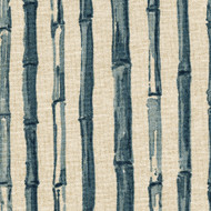 Bamboo Stripe Indigo Nature Print Blue Rod Pocket Curtain Panels