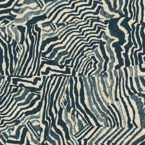 Agate Indigo Geometric Blue Tailored Valance, Lined
