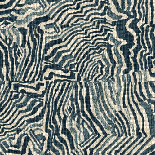Agate Indigo Geometric Blue Scallop Valance, Lined