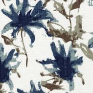 Kendal Regal Blue Watercolor Floral Gathered Bedskirt