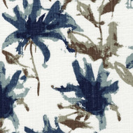 Kendal Regal Blue Watercolor Floral Pinch-Pleated Curtain Panels