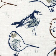 Bird Toile Regal Blue Chinoiserie Rod Pocket Tailored Tier Curtain Panels