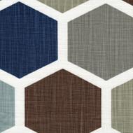 Hexagon Regal Blue Pinch-Pleated Curtain Panels