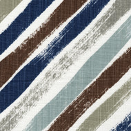 Stella Regal Blue Diagonal Stripe Pinch-Pleated Curtain Panels