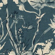 Garden Party Indigo Floral Blue Tie-Up Valance, Lined