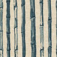 Bamboo Stripe Indigo Nature Print Blue Bradford Valance, Lined