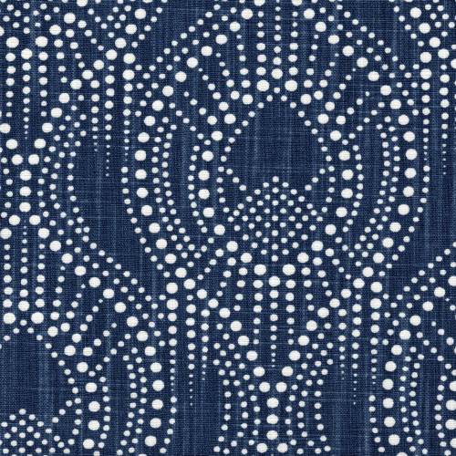 Alyssa Regal Navy Dotted Print Round Tablecloth with Topper