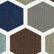 Hexagon Regal Blue Tie-Up Valance, Lined