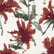 Kendal Scarlet Red Watercolor Floral Pinch-Pleated Curtain Panels