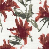 Kendal Scarlet Red Watercolor Floral Tab Top Curtain Panels