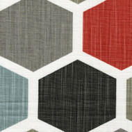 Hexagon Scarlet Red Tab Top Curtain Panels