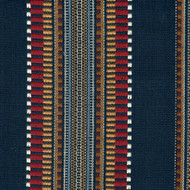 Dakota Denim Navy Woven Stripe Pinch-Pleated Curtain Panels
