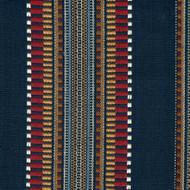 Dakota Denim Navy Woven Stripe Round Tablecloth with Topper