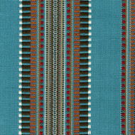 Dakota Creek Aqua Woven Stripe Pinch-Pleated Curtain Panels