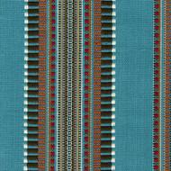 Dakota Creek Aqua Woven Stripe Round Tablecloth with Topper