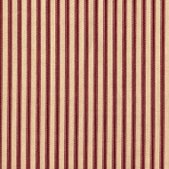 French Country Crimson Ticking Stripe Gathered Bedskirt