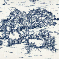 French Country Nautical Blue Toile Pinch-Pleated Curtain Panels