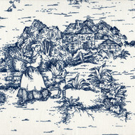 French Country Nautical Blue Toile Tab Top Curtain Panels