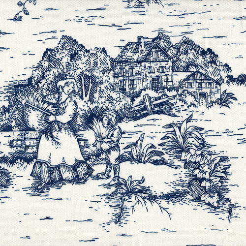 French Country Nautical Blue Toile Rod Pocket Curtain