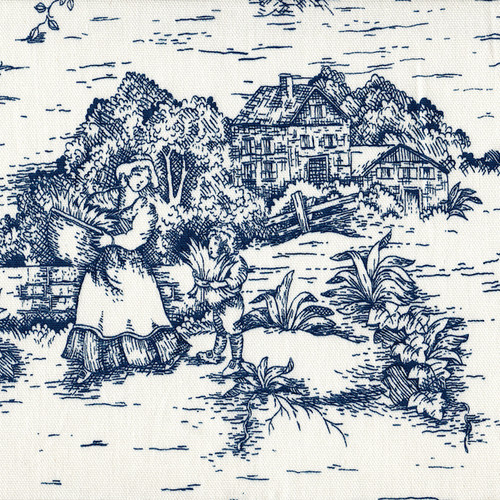 French Country Nautical Blue Toile Shower Curtain Close