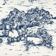 French Country Nautical Blue Toile Gathered Bedskirt