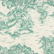 French Country Pool Green Toile Tailored Bedskirt