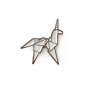 Silver Origami Unicorn Pin