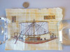 Ancient Sailboat.  Papyrus painting from Egypt in Italian frame.