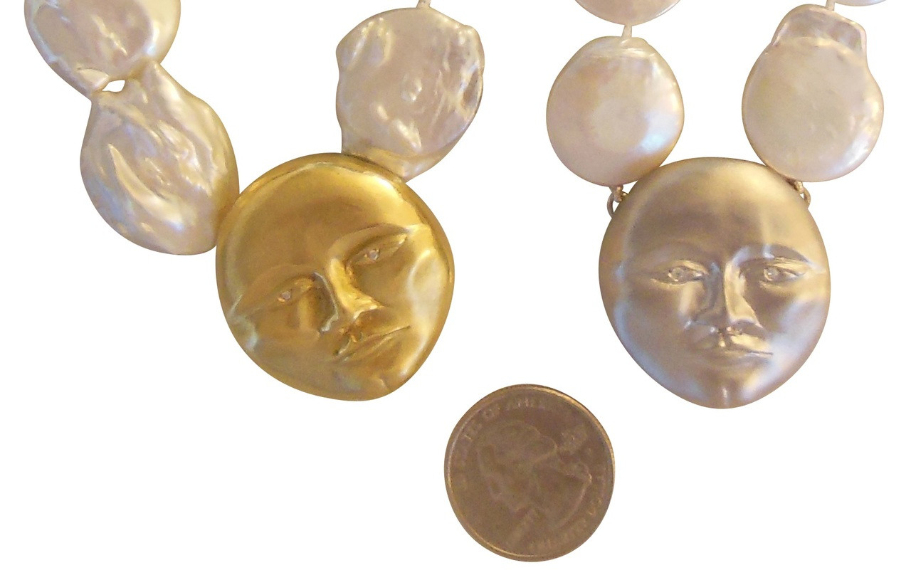 Sterling Silver Face with 18K gold plate, Diamond Eyes, Huge coin pearl necklace.  Someone to Watch Over Me-Sun/Moon Collection