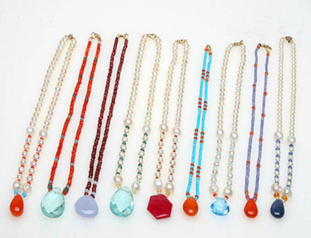 Gemstone & pearl pendant necklaces-Made to order
