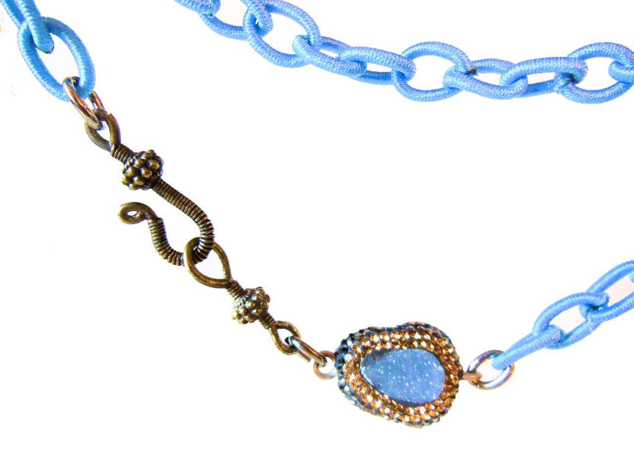 Blue Druzy on Blue Silk Chain with Vintage Clasp