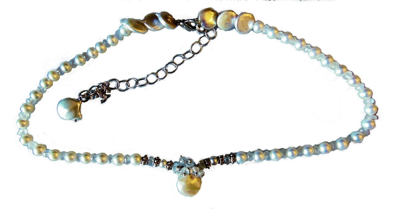 Coin pearl and moonstone snowflake cluster on round pearl necklace