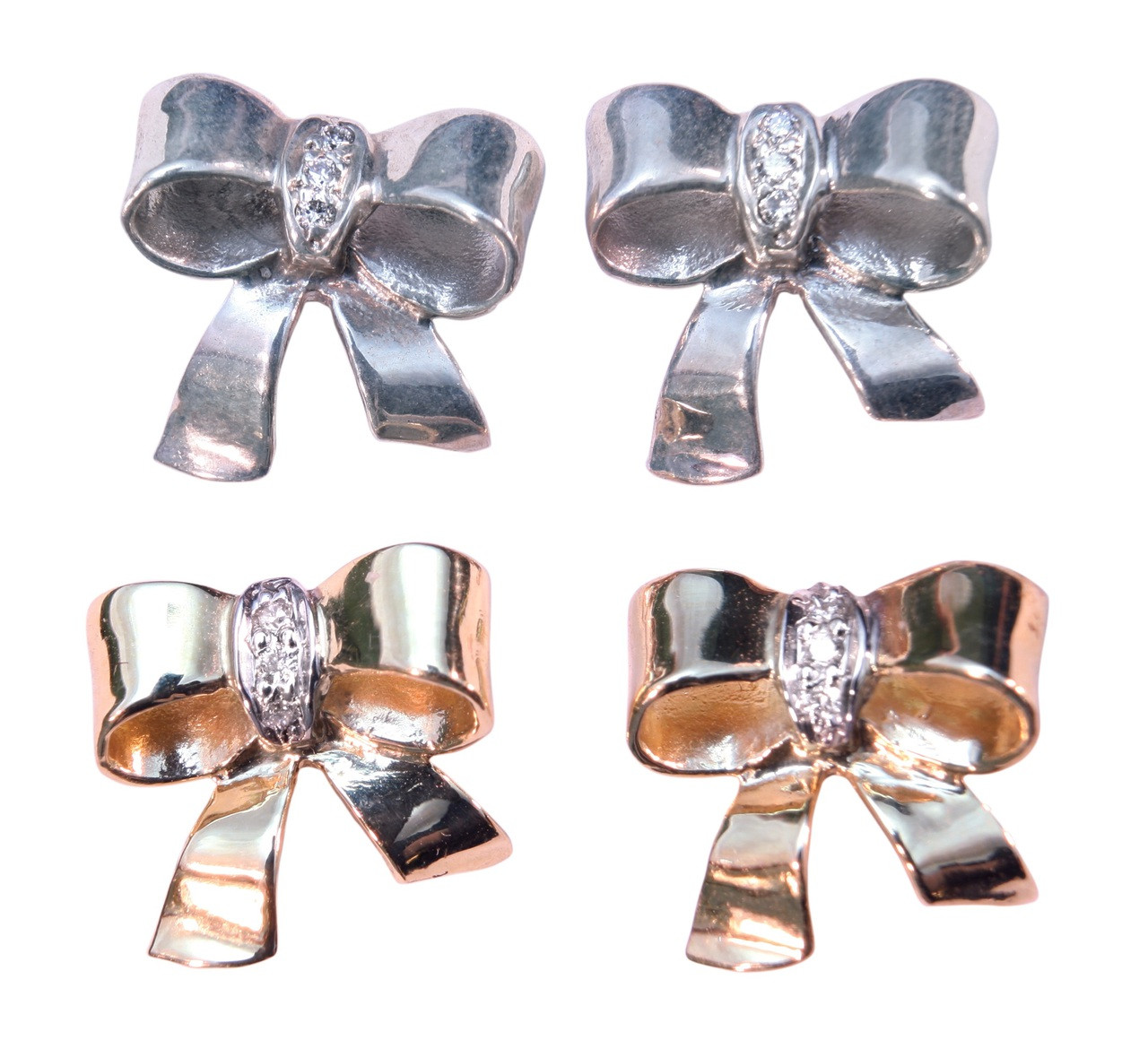 Bow Earrings-Sterling Silver with diamonds