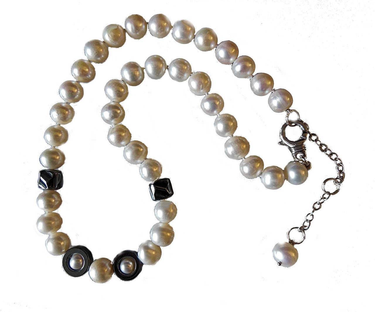 Hematite Circles and asymetric beads on white pearls